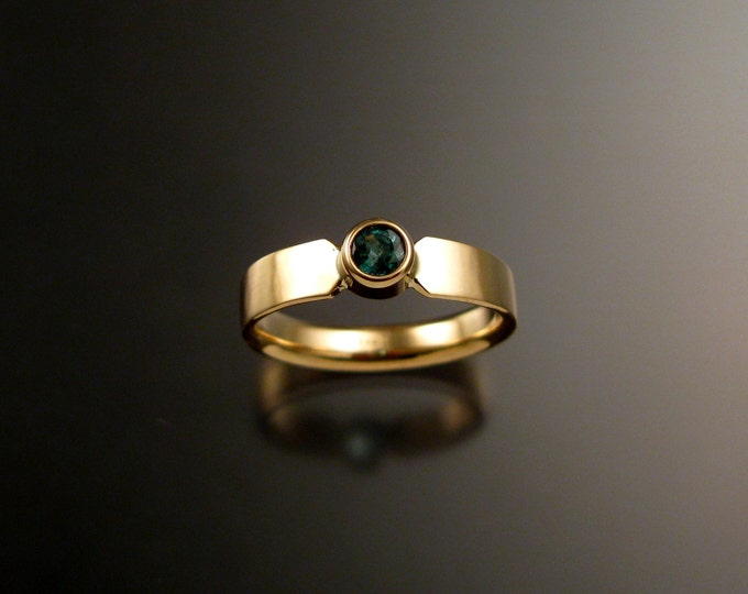 Emerald Wedding ring 14k Yellow Gold bezel set stone size 4