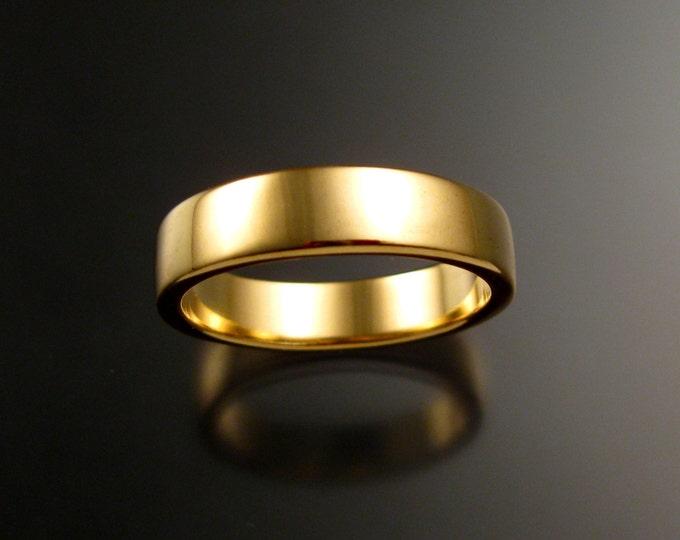 Yellow Gold Wedding band 2x5mm Heavy 14k rectangular comfort fit bright finish Handmade ring
