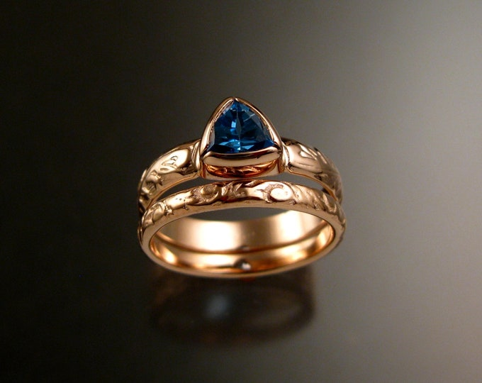Blue Topaz Triangle 14k Rose Gold two ring set Victorian bezel set stone ring made to order in your size