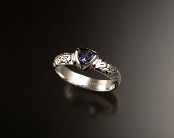 Iolite Triangle cut Natural gemstone sterling silver Sapphire substitute ring with Victorian floral pattern band size 8