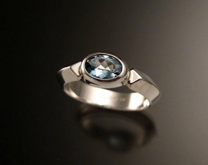 Aquamarine and sterling silver ring with triangular band and bezel set stone made to order in your size
