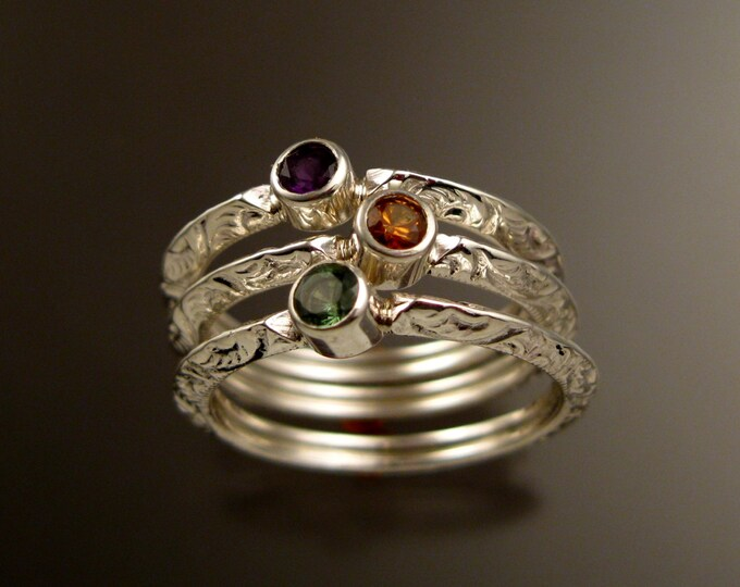 Stackable Mothers ring set of three Sterling Silver Victorian bezel set natural birthstone rings made to order in your size