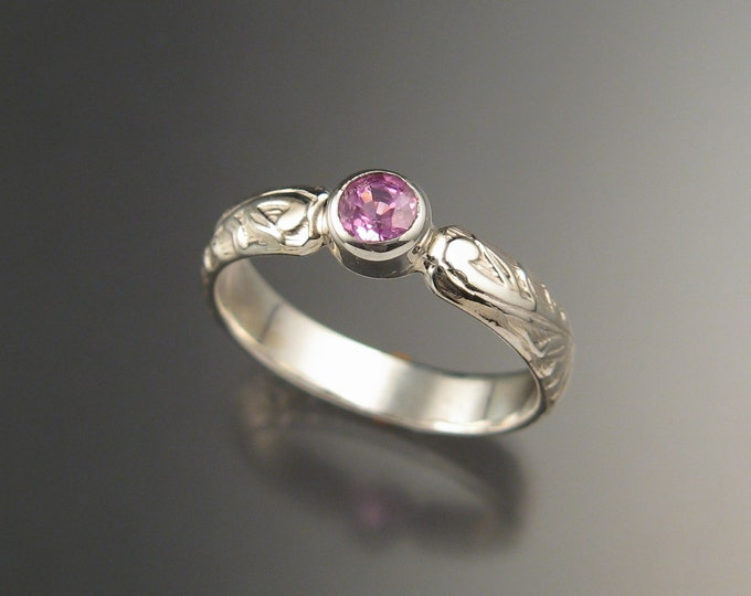 Pink Sapphire diamond substitute Victorian floral band Wedding Engagement ring crafted in 14k white gold made to order in your size