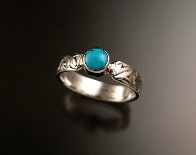 Turquoise sterling silver ring with Victorian flower and vine pattern band and bezel set stone Handmade to order in your size