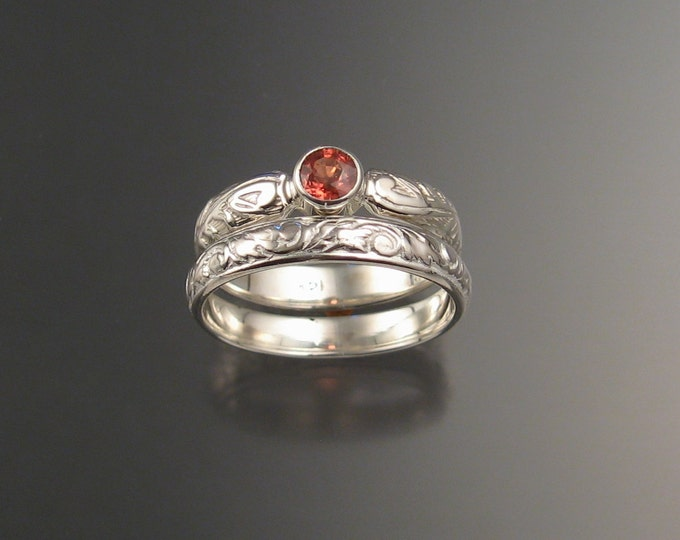 Orange Sapphire Natural 4mm round  Wedding set Sterling Silver Victorian bezel set Padparadscha ring made to order in your size