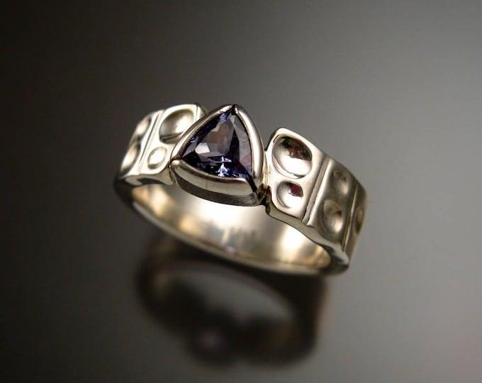 Tanzanite Triangle Ring Sterling Silver Moonscape band bezel set stone size 7