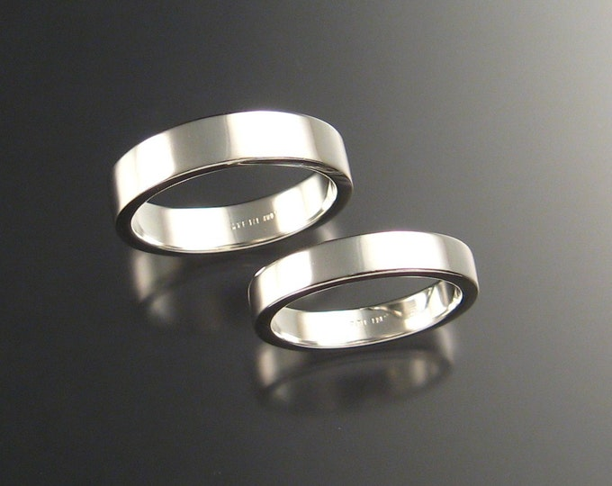 Sterling Silver Rectangular Wedding bands His and Hers ring set made to order in your size