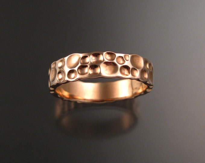 Rose Gold Moonscape Mans 14k Gold Wedding band Unique Handmade ring for men made to order in your size
