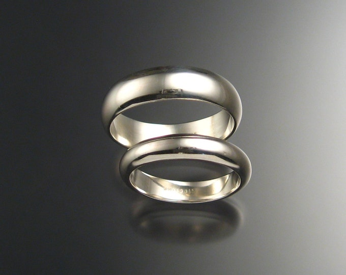 His and Hers Sterling Silver Half Round Wedding bands made to order in your size