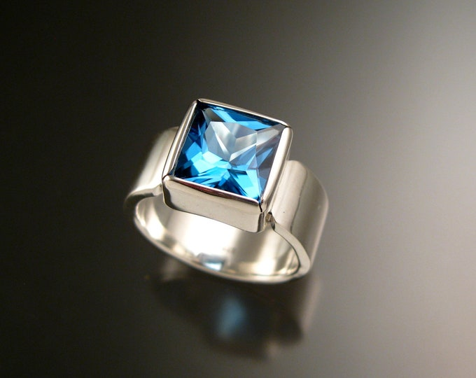 Blue Topaz large square stone Sterling Silver ring handmade to order in your size
