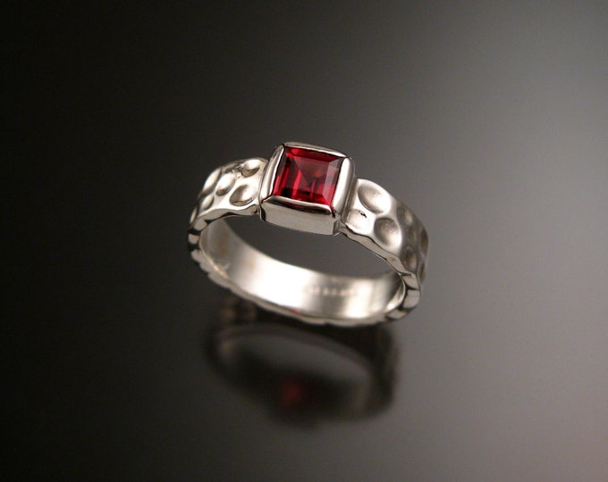 Garnet 6mm square Moonscape ring handcrafted in 14k White Gold Ruby Substitute ring made to order in your size
