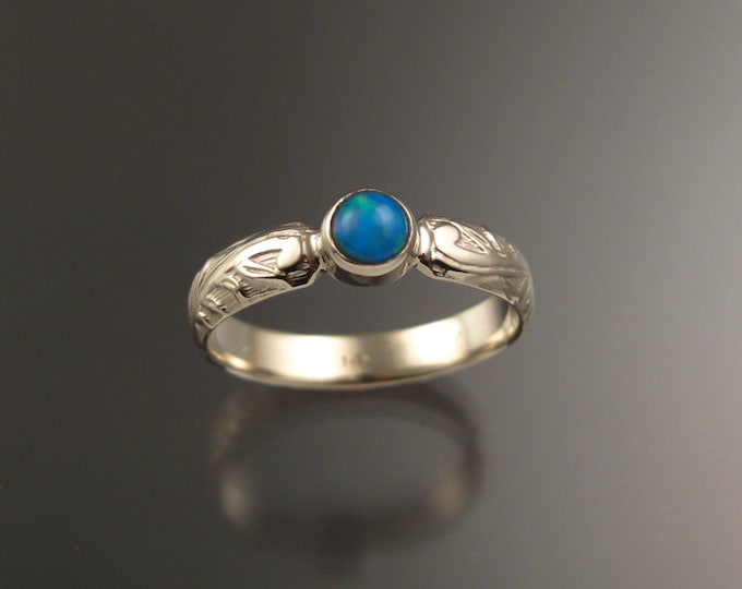 Opal victorian wedding ring Natural Ethiopian Opal ring made to order in your size set in 14k white gold