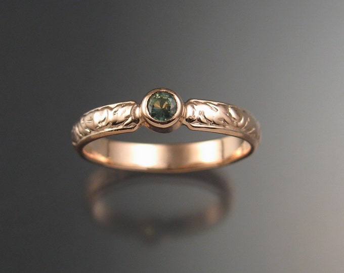 Green Sapphire Wedding ring 14k rose Gold Victorian bezel set Green Diamond substitute ring made to order in your size