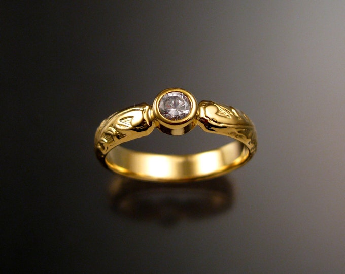 White Sapphire Wedding ring 14k Yellow Gold Victorian Floral bezel set stone Diamond substitute ring made to order in your size