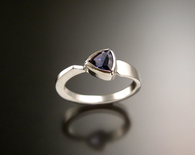 Iolite triangle ring 14k White Gold bezel set Stone Asymmetrical setting made to order in your Size