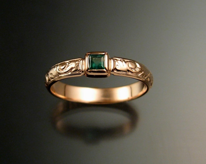Emerald square  Wedding ring 14k Rose Gold Victorian bezel set ring made to order in your size