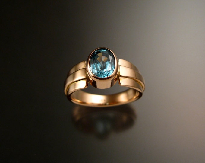 Blue Zircon ring 14k Rose Gold blue Diamond substitute large stone statement ring made to order in your size