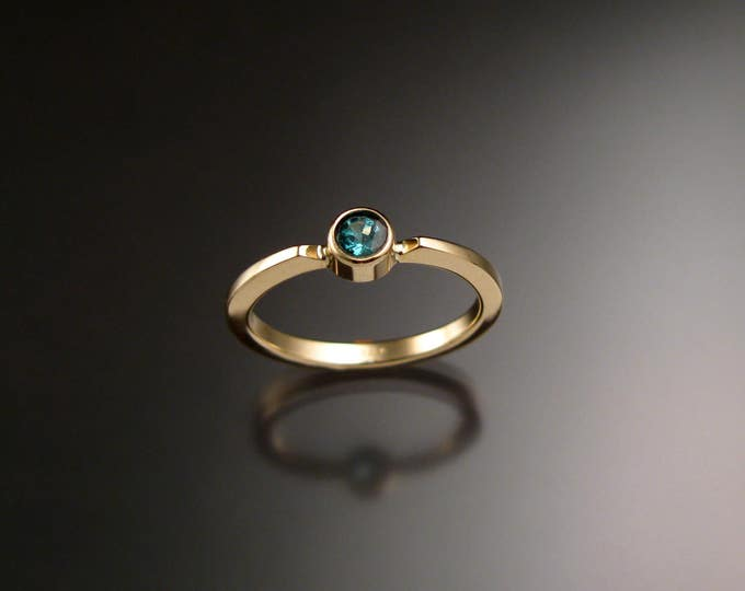 Emerald Stackable Mothers ring 14k Yellow Gold natural May birthstone ring Made to order in your size
