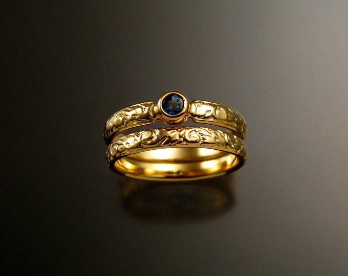 Sapphire Wedding set 14k Yellow Gold Natural Cornflower blue Sapphire Victorian bezel set two rings made to order in your size