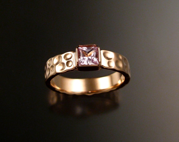 Sapphire square Moonscape ring handcrafted in 14k rose gold with your choice of color made to order in your size