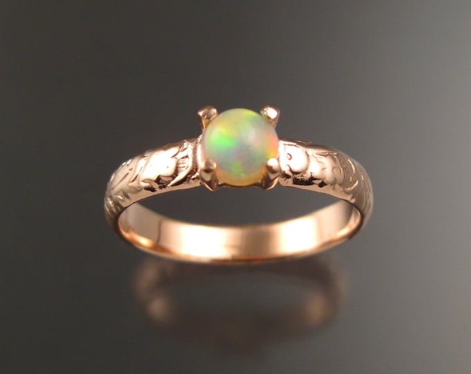 Opal Wedding ring 14k Rose Gold Victorian floral pattern Ethiopian Opal ring made to order in your size