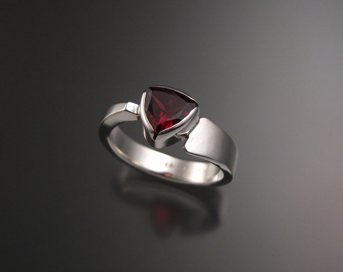 Garnet triangle ring Sterling Silver asymmetrical band size 7