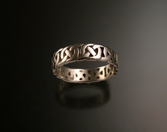 Celtic band Wedding ring handcrafted in 14k White Gold made to order in your size