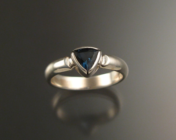 London Blue Topaz Triangle ring set in Sterling Silver