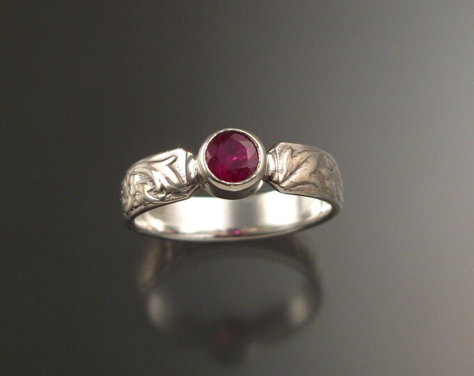 Ruby Brides 14k White Gold flower and vine pattern Natural stone wedding ring made to order in your size Victorian ring