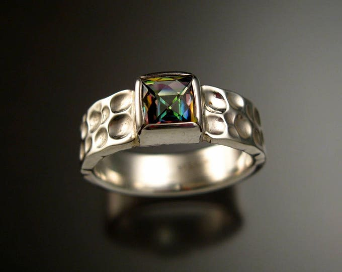 Mystic Topaz Moonscape Ring Sterling Silver Checkerboard cut 7mm square stone ring made to order in your Size