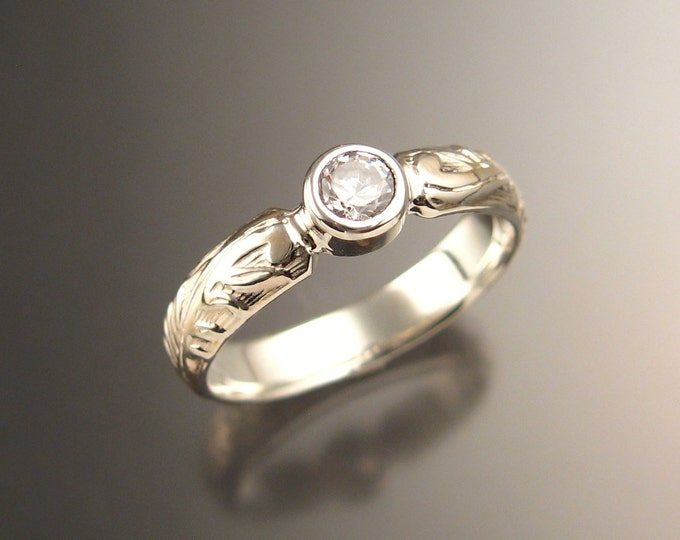 White Sapphire diamond substitute Victorian floral pattern Wedding ring in 14k white gold made to order in your size