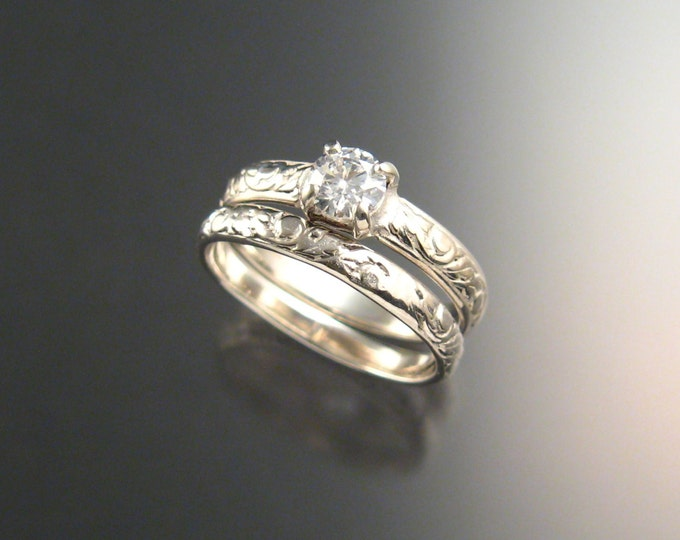 White Zircon Wedding set 14k white gold Diamond substitute two ring set made to order in your size Victorian floral pattern band