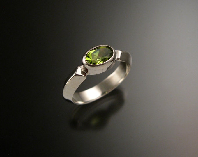 Peridot 14k white Gold handmade triangular band ring with bezel set east west stone stacking ring made to order in your size