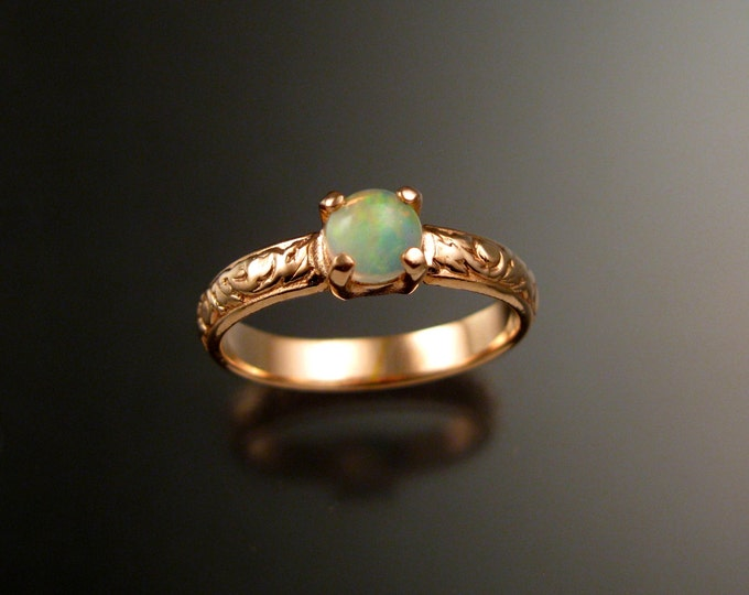 Opal and 14k rose Gold Wedding Ring Victorian floral pattern band made to order in your size