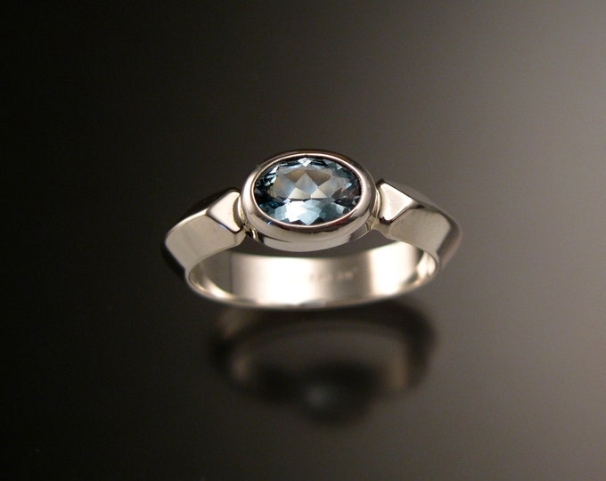 Aquamarine and 14k White Gold  ring with triangular band and bezel set stone made to order in your size