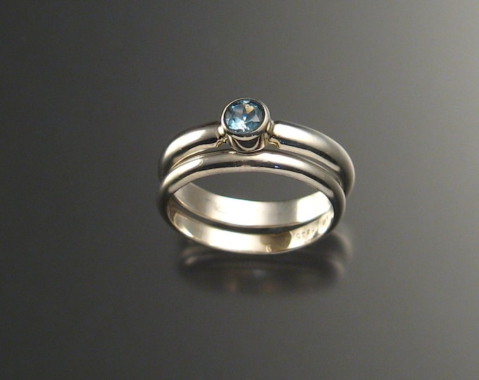 Blue Topaz wedding set Sterling Silver made to order in your size