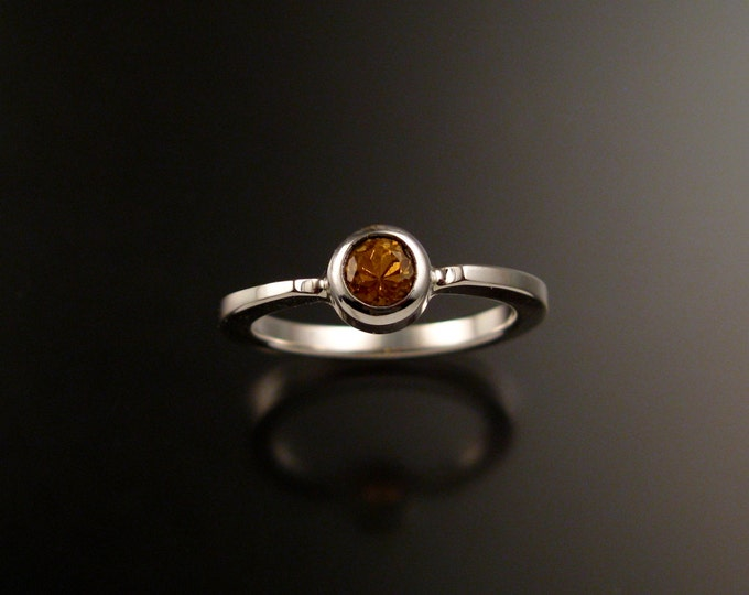 Orange Garnet stackable ring Sterling Silver Spesertite Garnet stackable ring made to order in your size