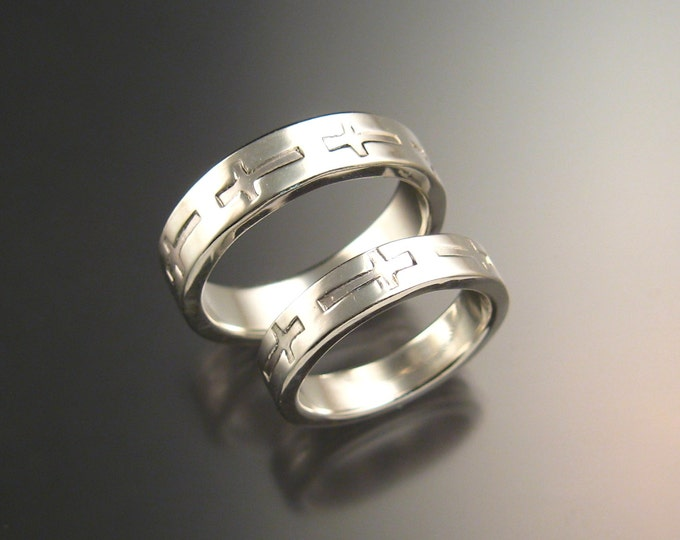 Sterling silver Christian crosses wide sturdy handmade his and hers wedding ring set made to order in your size