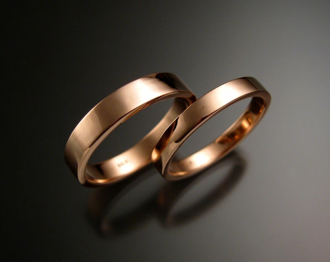 Rose Gold Wide 14k rectangular bright finish comfort fit Wedding bands His and Hers Handmade rings for Bride and Groom