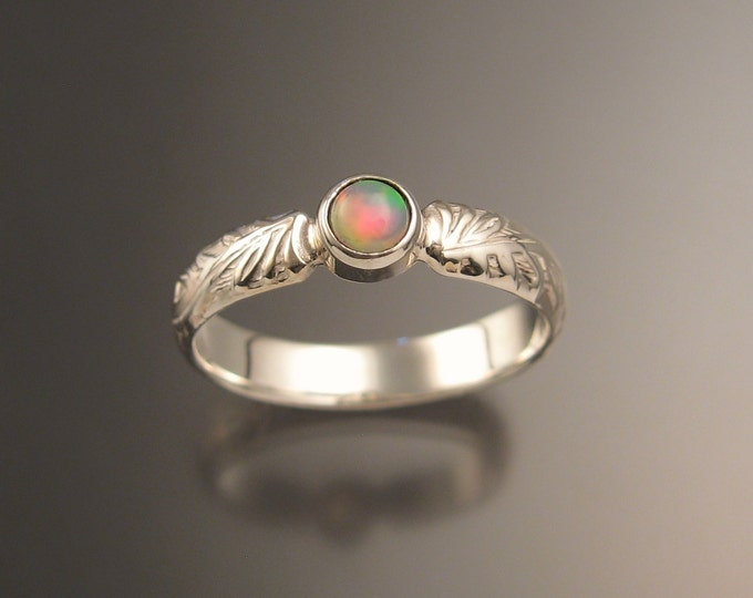 Opal victorian wedding ring made to order in your size set in Sterling Silver