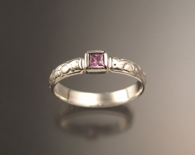 Pink Sapphire Natural square cut stone Wedding ring 14k White Gold Victorian Pink Diamond substitute ring made to order in your size