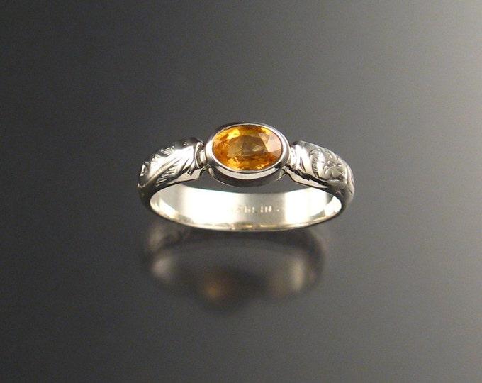 Orange Garnet and Sterling Silver Natural Mandarin Garnet victorian floral pattern ring made to order in your size