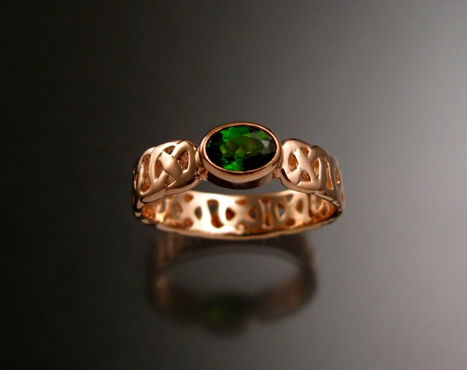 Chrome Diopside Celtic band Wedding ring handcrafted in 14k Rose Gold Emerald Substitute ring made to order in your size