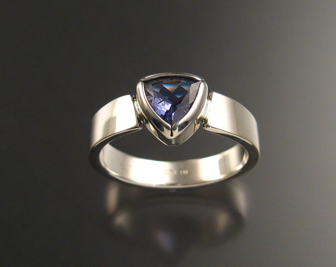 Iolite Trillion cut ring sterling silver Sapphire substitute ring made to order in your size