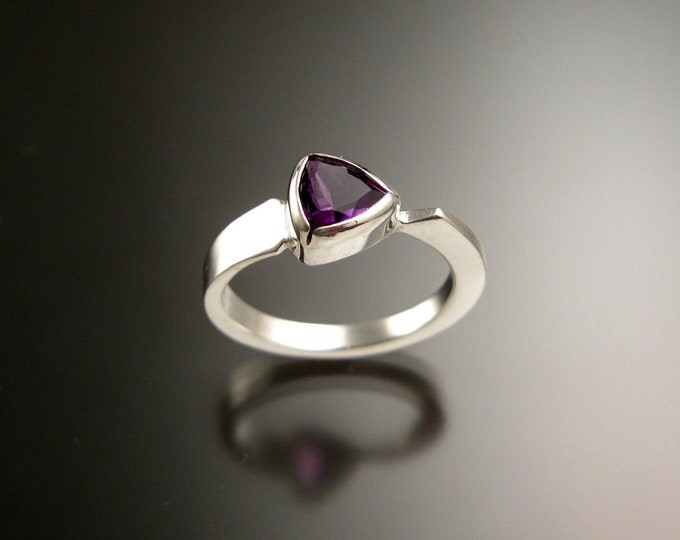 Amethyst triangle ring Sterling Silver bezel set Stone Asymmetrical setting made to order in your Size
