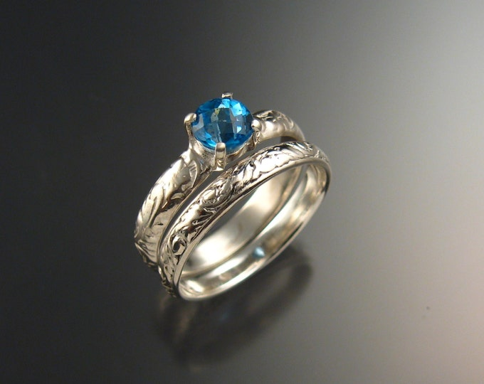 Blue Topaz Wedding set 14k White Gold ring made to order in your size