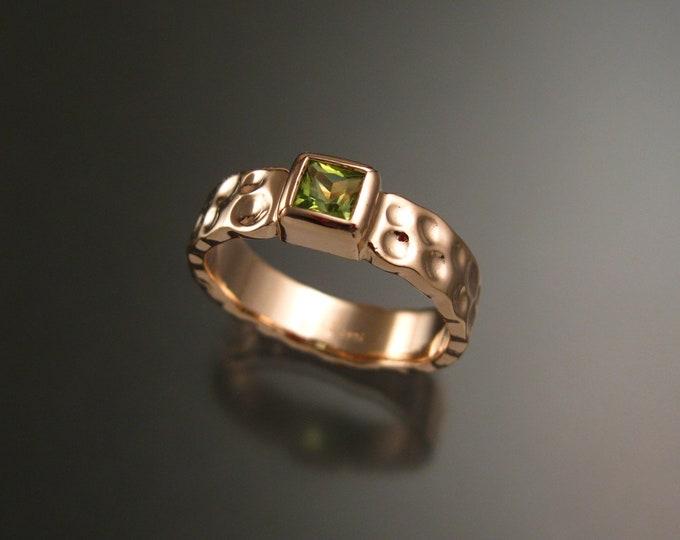 Peridot 4mm square Moonscape band handcrafted in 14k Rose Gold ring made to order in your size
