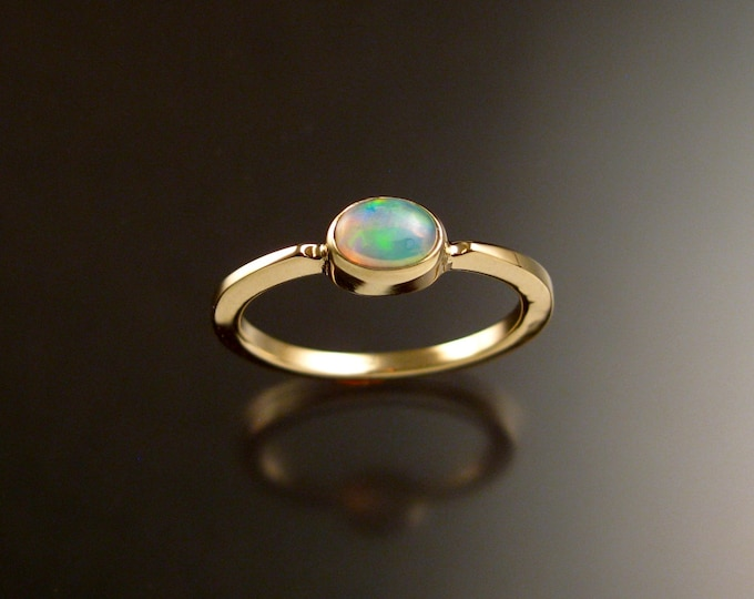 Opal 4x6mm oval stone ring 14k yellow Gold ring Made to order in your size Stackable Mothers ring