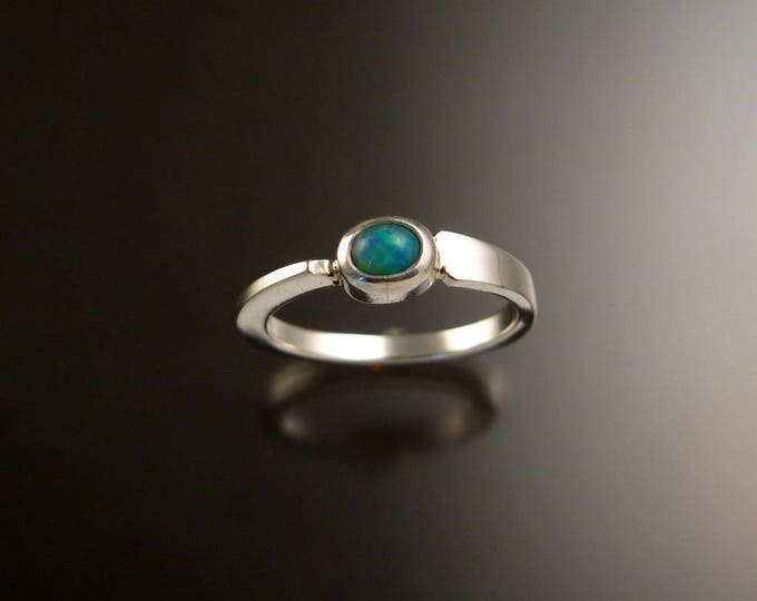 Opal Ring Sterling Silver Asymmetrical stackable ring with 4x5mm oval stone Hand crafted in your size