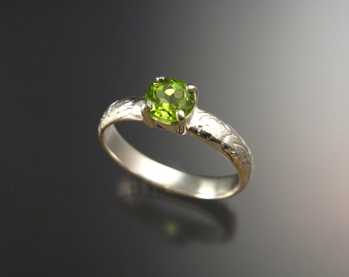 Peridot Wedding ring Victorian floral pattern band Engagement ring Handmade to order in your size